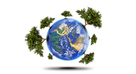 earth core: protect the environment concept - earth with a tree , Planet With Tree Stock Photo