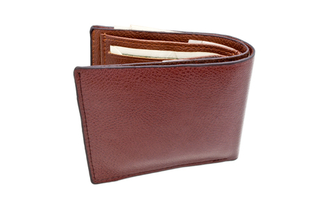 leather purse, brown purse on white background photo
