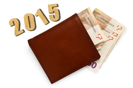 3 5 years: leather brown leather wallet with money, 2015 wooden numbers, open purse with paper money