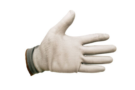 gray work gloves isolated on white background photo