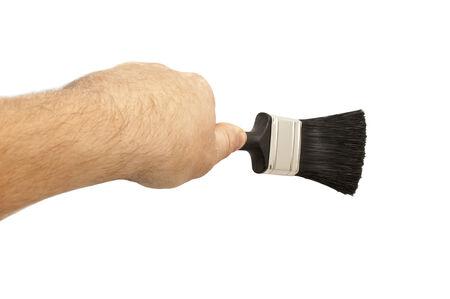 brush in: black brush in a man