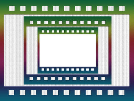 negative film: grungy negative film, three frames of different sizes