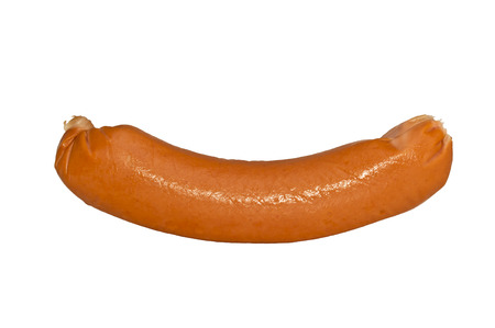 bring: one meat sausage isolated on white background,