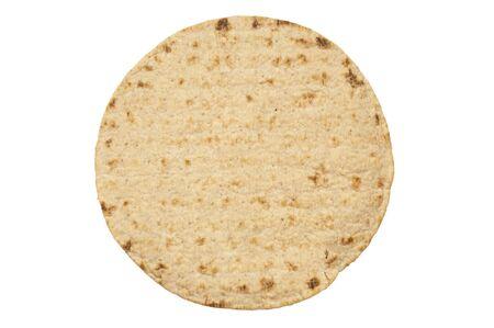 Wheat round tortillas on white background, one pita isolated photo