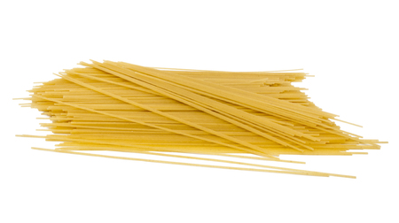 Uncooked spaghetti on a white background, slide spaghetti on white background photo