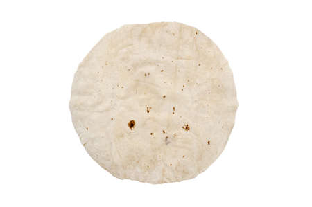 tortillas: Wheat round tortillas on white background, one pita isolated Stock Photo