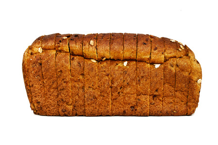 threaded: Fresh black bread isolated, fresh pastries, sliced bread