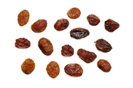 raisins isolated on white background, a few raisins on a white background photo