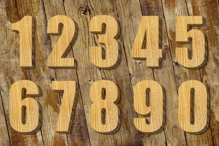 4 of a kind: set of wooden numbers, set of numbers in 3D
