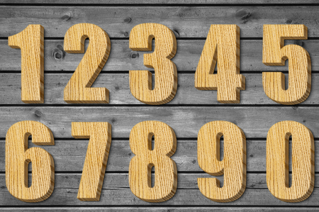one of a kind: set of wooden numbers, set of numbers in 3D