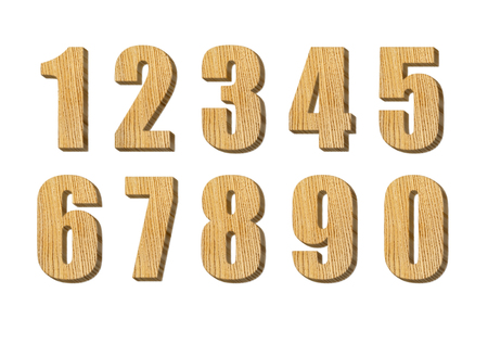 4 of a kind: Carved number isolated on white background, set of wooden number isolated on white background