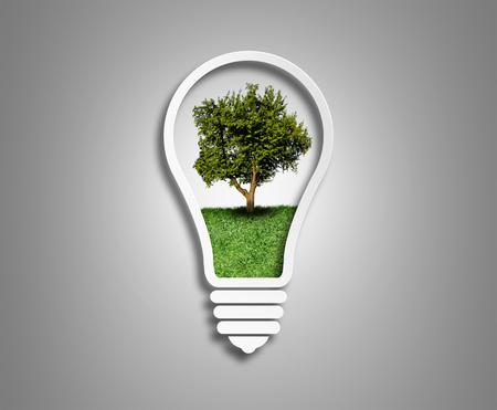 green eco energy concept, tree inside the light bulb