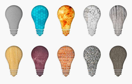 illustration of ten different bulbs. Set of abstract lamp on a white background. Ten bulbs of different materials illustration