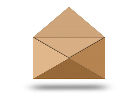 Illustration of blank paper envelope. Paper envelope isolated on white background illustration