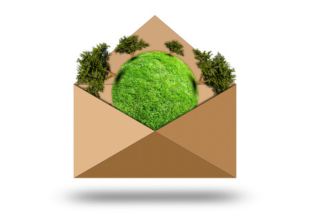 Green planet with trees in an envelope. Paper envelope isolated on white background photo