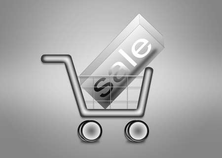 holiday shopping: Big sale in shopping cart. Shopping cart for holiday shopping