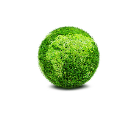 clean environment: Green planet Earth covered with grass isolated on white background. Concept of ecology and clean environment.