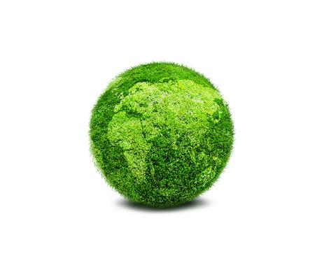 Verde pianeta terra coperto di erba isolato su sfondo bianco. Concetto di ecologia e ambiente pulito. Archivio Fotografico - 36425324