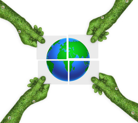 four hands: hand, ecology symbol planet earth.the concept of green planet Earth is divided into four. four hands holding four parts of the image. hand covered with green grass