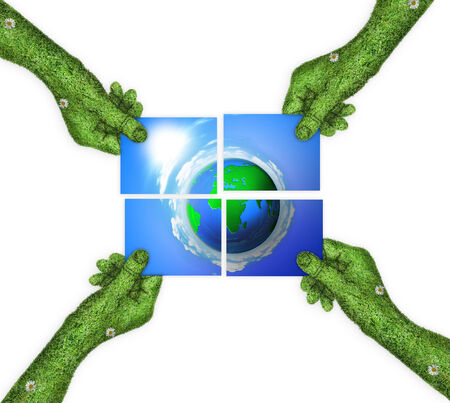 four hands: hand, ecology symbol planet earth. the concept of blue planet Earth is divided into four. four hands holding four parts of the image. hand covered with green grass