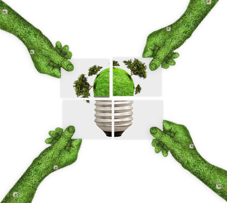 four hands: hand, ecology symbol planet earth. four hands holding four parts of the image. hand covered with green grass