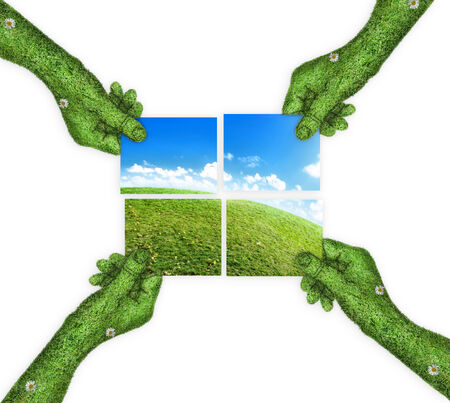 four hands: hand, ecology symbol planet earth. the concept of green planet Earth is divided into four. four hands holding four parts of the image. hand covered with green grass