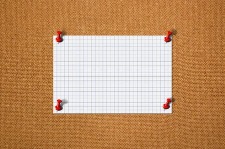 red pushpin: Blank paper memo on wood with red pushpin. S Stock Photo