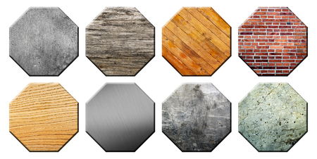 texturing: Set of different textured application icons. Illustration of colorful icons with different textures for applications. Set texturing octagons Stock Photo