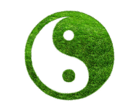 spring balance: yin yang sign of the grass on a white background.