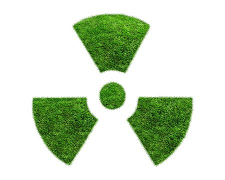 grass isolated: Nuclear symbol from a green grass isolated on white background.