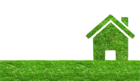 Abstract green grass house on a green meadow. Ecology concept Foto de archivo