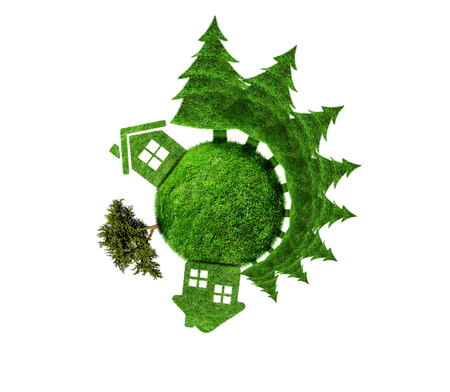 earth core: Protect the environment concept - earth with a fir trees. Planet with fir trees