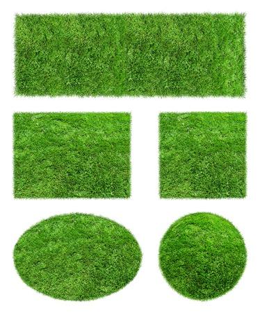Achtergronden van groene gras geïsoleerd op een witte achtergrond