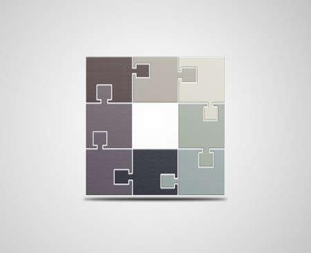 logic: Puzzle, logo design template. Monochrome logic icon.