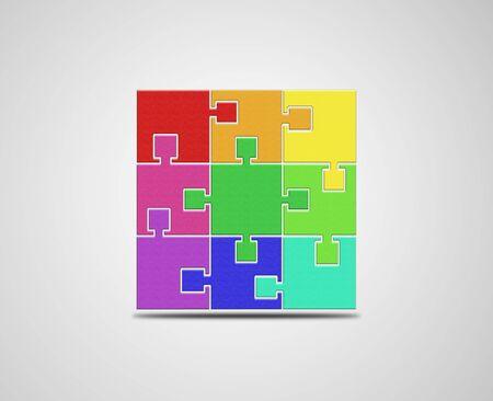 square logo: Puzzle, Square logo design template. Colorful logic icon.