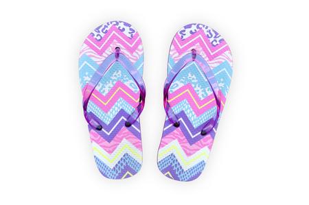 sandalias: De colores sandalias flip flop aisladas. Sandalias en el fondo blanco