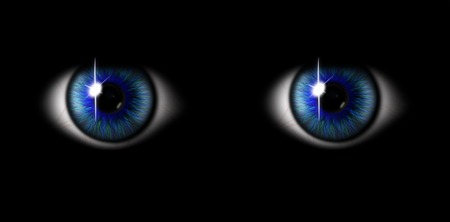 eyes wide open: 3d blue eyes on black background Stock Photo