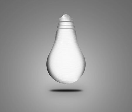 metal light bulb icon: Bulb icon on light background. Abstract metal lamp isolated on gray background