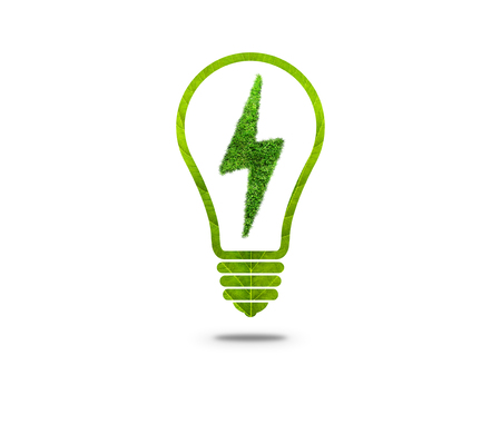 Electric Lamp Symbol With Leaf Texture Green Light Bulb On A White Background Photo