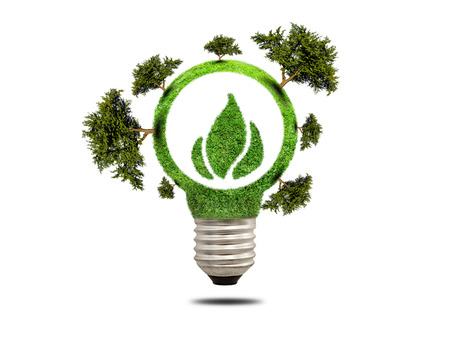 overuse: Green grass light bulb with trees. Concept of green energy saving. Icon clean energy