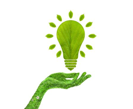 overuse: Green leaf light bulb in his hand Stock Photo