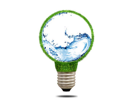 water concept: Green grass light bulb on a white background. Abstract light bulb with water inside. Concept of ecology. Symbol electric lamp