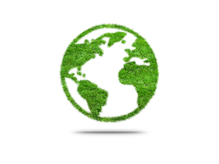 Green planet Earth covered with grass isolated on white background. Concept of ecology and clean environment.