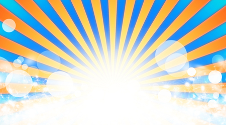 sunbeam: Illustration shiny sunbeams. Orange sunbeams on blue background. Abstract bright background