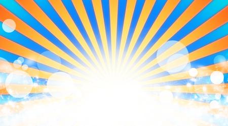 sunbeam background: Illustration shiny sunbeams. Orange sunbeams on blue background. Abstract bright background