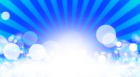 sunbeams: Illustration shiny sunbeams. Bright sunbeams on blue background. Abstract bright background