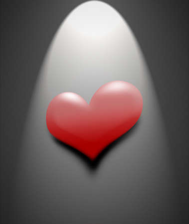 lonesome: Illustration red heart on a black background. Red heart illuminated the light of a strong spotlight.