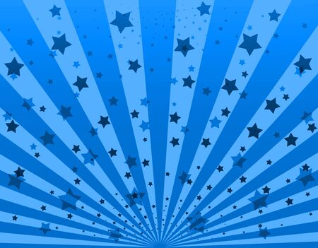 dazzling: Illustration bright sunbeams. Bright sunbeams on blue background. Abstract bright background with stars Stock Photo
