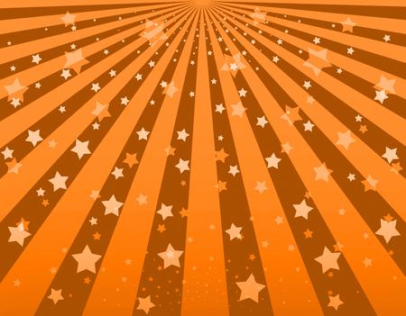 burst background: Illustration bright sunbeams. Bright sunbeams on orange background. Abstract bright background with stars