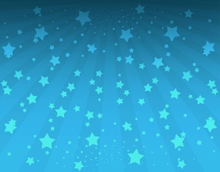 blinding: Illustration bright stars with sunbeams. Bright stars on blue background. Abstract bright background with stars Stock Photo